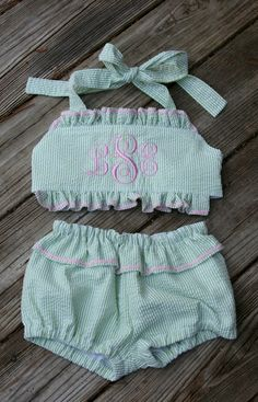 Little girls seersucker swim suit! This might be the cutest thing i have ever seen.