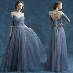Blue Grey Prom Gown Crystal Half Sleeve Maxi Long Evening Dress Elegant Lace-up Special Occasion Party Dress SD219 - $132