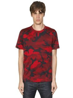 VALENTINO - CAMO PRINTED COTTON T-SHIRT - LUISAVIAROMA - LUXURY SHOPPING WORLDWIDE SHIPPING - FLORENCE