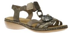 These open-toe sling-back sandals feature a two-tone upper comprised of soft synthetic leather in conjunction with elasticated straps for an easy slip-on style and snug fit. A metallic medallion at the centre enhances style. A soft cushioned insole provid Walk On, Snug Fit, Open Toe, Slip On, Sandals, Metal, My Style, Heels, Cloud