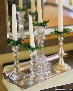 Greenery under the candles  >> hunting for those crystal candle holders