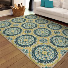 "Carolina Weavers Indoor/Outdoor Medallion Rising Sun Blue Area Rug  (5'2"" x 7'6"") 