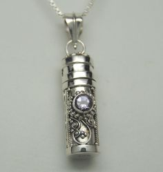 AMETHYST CREMATION URN NECKLACE SILVER CREMATION JEWELRY MEMORIAL KEEPSAKE URN