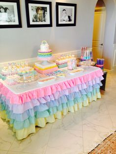 New baby first birthday party ideas girl dessert tables Ideas - Geburtstag Unicorn Themed Birthday Party, Rainbow Birthday Party, Baby Girl Birthday, Unicorn Party, First Birthday Parties, First Birthdays, Girl Birthday Decorations, Baby Shower Decorations, Cloud Party
