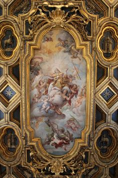"echiromani: ""Coffered and gilded ceiling with a fresco depicting the glorification of Saint Clement (c. 1712). Basilica of San Clemente, Rome. """