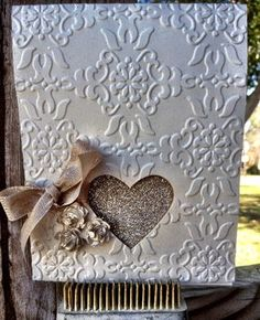 Elegant Valentine or Wedding Card. Stampin' Up!  Used sift suede inked over silver glimmer paper.