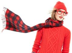 J.Crew Super™ Ciccio eyeglasses, Cambridge cable turtleneck sweater & cashmere buffalo check scarf.