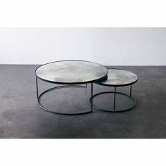 Notre Monde Charcoal Nest Coffee tables Elegant and stunning addition to our furniture collection. A heavy aged mirror with bronze details & a black metal frame