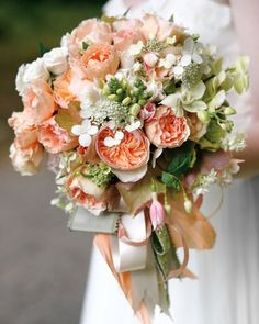 apricot and beige wedding bouquets | Flower Ideas from Real Weddings - Martha Stewart Weddings Flowers