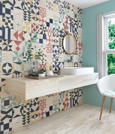 Shop for gorgeous bathroom wall tiles at Porcelain Superstore. We've got a great range of quality tiles, all at amazing prices. Toilet Tiles, Bathroom Floor Tiles, Bathroom Wall, Colourful Bathroom Tiles, Patterned Wall Tiles, Small Toilet, Downstairs Toilet, Blue Tiles, Home Decor Ideas