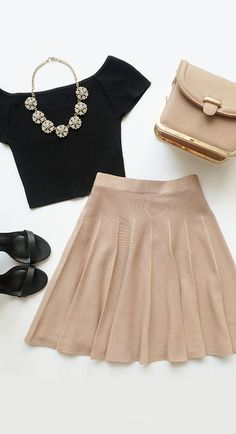 Pleat Talk Beige Skater Skirt