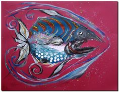 Modern Abstract Fish Art. Acrylic on paper (pastel), 19x25 inches