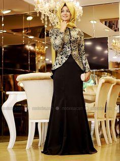 Peplum Detail Set & Evening Dress - Black - Pinar Sems