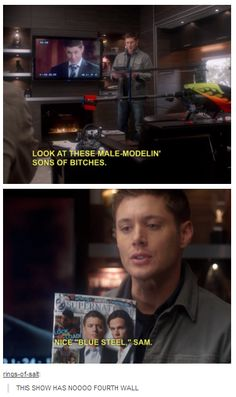 Supernatural has no fourth wall...no it doesn't. To be honest, my FIVE favorite things about this show are: 1: The treatment of FANS within episodes/breaking the wall. 2: Castiel. 3. Dean. 4. Dean/Cas. 5. SUBTEXT.