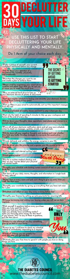 30 Days To Be More Productive and Declutter Your Life: Use this list to start decluttering your life physically and mentally! Do 1 item of your choice each day. #declutteringahouse #declutteryourhome