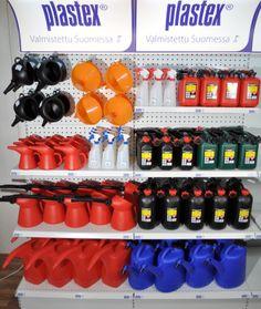 Autoilu ja veneily tuoteperheen hyllykokonaisuus. Plastexin lipasta huomaa aidot kotimaiset tuotteet!