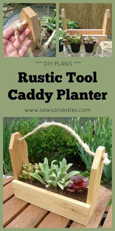 DIY Rustic Tool Caddy Planter 2019 Love this! This easy tutorial shows you how to use scrap wood to make an adorable DIY planter that looks like a rustic tool caddy. The post DIY Rustic Tool Caddy Planter 2019 appeared first on Woodworking ideas. Antique Woodworking Tools, Woodworking Projects That Sell, Learn Woodworking, Popular Woodworking, Woodworking Crafts, Woodworking Plans, Woodworking Furniture, Intarsia Woodworking, Woodworking Joints