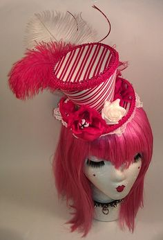 Red and White Striped Mini Top Hat Burlesque Pin Up Lolita Candy Cane Fascinator. $35.00, via Etsy.    b party hat