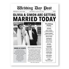 Newspaper Wedding Program Infographic Wedding Program Fun