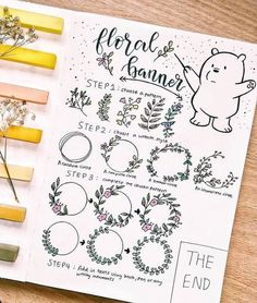 How to draw floral banner? Here is a step by step guide by @art_love98.