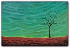 Abstract Art Surreal Landscape Painting Autumn Sky Oil by BingArt, $245.95