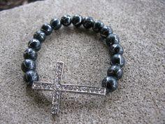 Sideway cross bracelet  Black desert sun by Detroitbeads on Etsy, $16.99