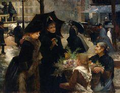 Flower Seller, Place du Theatre-Francais, 1889 by Louis Marie de Schryver (FRENCH, 1862-1942)