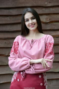 Peasant blouse blouse vyshyvanka hand embroidery clothing handmade floral linen pink gift for her gift for women birthday gift mothers day Mother Birthday Gifts, Birthday Woman, Birthday Gifts For Women, Mother Gifts, Kinds Of Clothes, Linen Blouse, Beauty Full Girl, Pink Gifts, Peasant Blouse