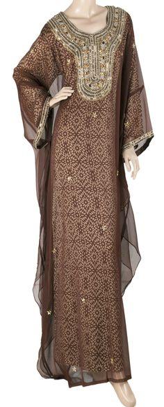 aljalabiya.com: Butterfly chiffon jalabiya with hand embroidery on the chest and cuffs(N-10425) $89.00