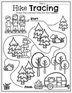 Practice Early Writing Skills while Tracing the Hiking Path. - Pre-k Camping Worksheets