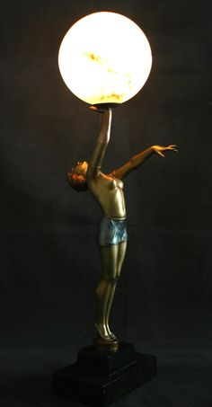 A large iconic art deco spelter figure lamp, circa 1930, Germany,