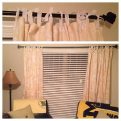 Shower Curtains + Ribbon = WIndow Curtains