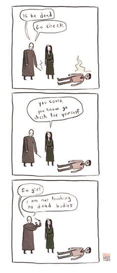 Voldemort does not touch dead bodies. By Noelle.