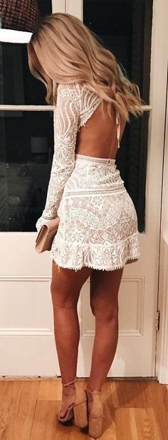 This is the cutest white lace dress ever! - / white lace dress cute outfits for girls 2017 Hoco Dresses, Cute Dresses, Beautiful Dresses, Gorgeous Dress, Kohls Dresses, Lace Homecoming Dresses, Ladies Dresses, Beautiful Dream, Absolutely Gorgeous