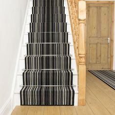 Strike Blue Stripe - Stair Carpet Runner For Staircase Modern Quality Cheap New Grey Carpet Bedroom, Striped Carpets, Black Stairs, Carpet Staircase, Quality Carpets, Carpet Runner, Rugs On Carpet, Tall Cabinet Storage, Blue