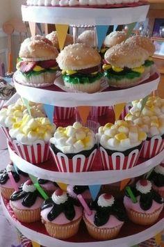 Hamburger, Popcorn, & Sundae Cupcakes
