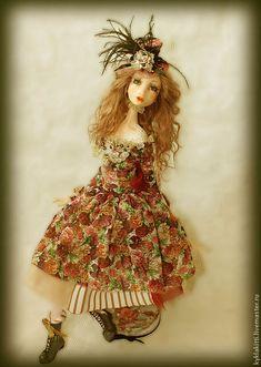Купить Камэлия - фуксия, розы, кукла ручной работы, подарок девушке, интерьерная кукла, фимо