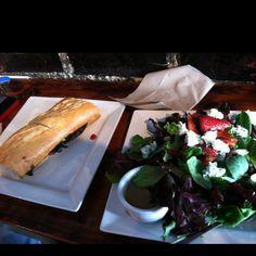 Portabello mushroom with sun dried tomato sandwich & balsamic vinegar strawberry salad... Heaven