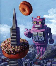 Eric Joyner paints robots and donuts, a combination that is both inspired and logical, once you see Eric's work. http://bit.ly/zGiZUB