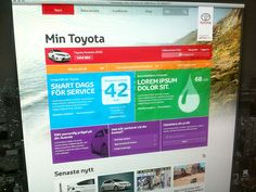 Windows 8 inspired grided dashboard for owners of Toyotas.