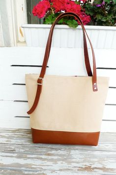 NEW ARRIVAL Canvas Tan Tote Bag Leather Bottom    by ottobags, $89.00