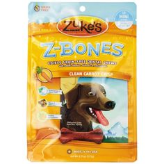 Mini Zuke's Z-Bones Mini Grain-Free Clean Carrot Crunch Dental Chews are designed to clean teeth and freshen breath for dogs while also delivering antioxidants from sources such as spinach, rosemary, alfalfa concentrate and turmeric.