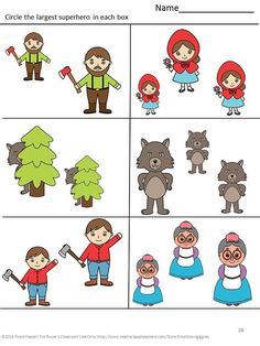 Little Red Riding Hood Kindergarten Math Literacy Cut and Paste Activities Early Childhood Special Education Autism Fairy Tales P-K, K Math Literacy, Literacy Activities, Toddler Activities, Kindergarten Special Education, Kindergarten Math, Preschool, Little Red Ridding Hood, Red Riding Hood, Complete O Alfabeto
