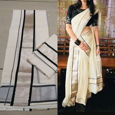 Set Mundu Kerala, Kerala Traditional Saree, Onam Saree, Kerala Saree Blouse Designs, Set Saree, Official Dresses, Fancy Blouse Designs, Half Saree, Woman Clothing
