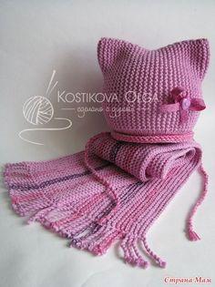 Красивый вязаный комплект для маленькой модницы. Вязаная шапочка и вязаный шарфик. Вяжется комплект очень просто.