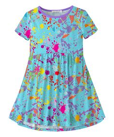 Take a look at this Turquoise   Purple Splatter Skater Dress - Toddler    Girls today! fc4b65e010