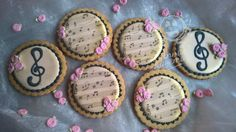 Royal icing cookies with musical notes