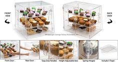 acrylic bin, acrylic bins, bakery counter top displays, bakery display, bakery display cases, countertop displays, food display