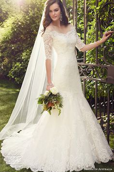 essense of australia wedding dress 2015 bridal off the shoulder neckline half lace sleeves mermaid gown d1748