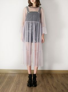 FLEAMADONNA grey sheer mesh dress